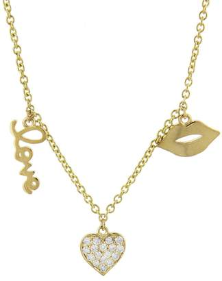 Sydney Evan Three Charm Love Fringe Necklace - Yellow Gold