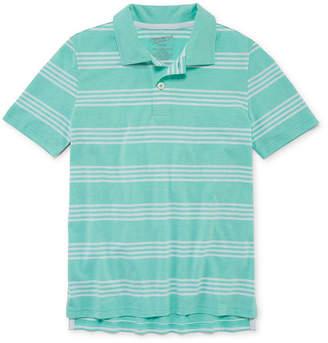 Arizona Short Sleeve Stripe Knit Polo Shirt Boys 4-20