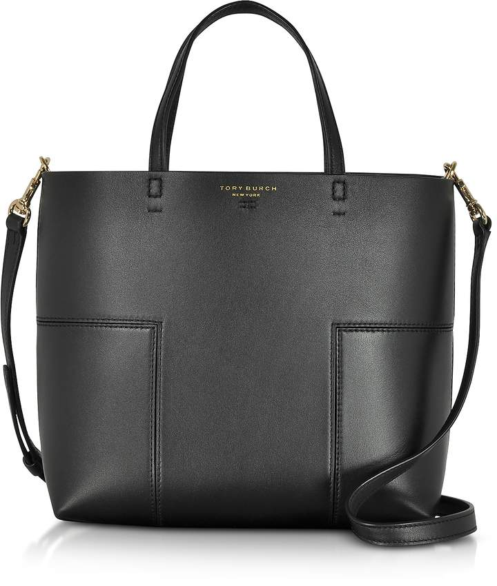 Tory Burch Block-T Black Leather Mini Tote Bag - ONE COLOR - STYLE