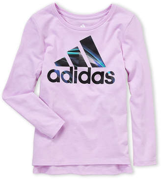 adidas Girls 4-6x) Lilac Logo Long Sleeve Tee
