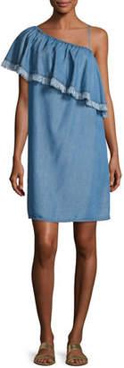 Splendid Indigo Asymmetric Fringed Chambray Dress, Medium Blue