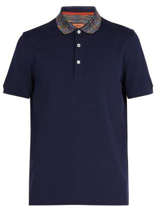 Missoni Striped Collar Cotton Pique Polo Shirt - Mens - Navy