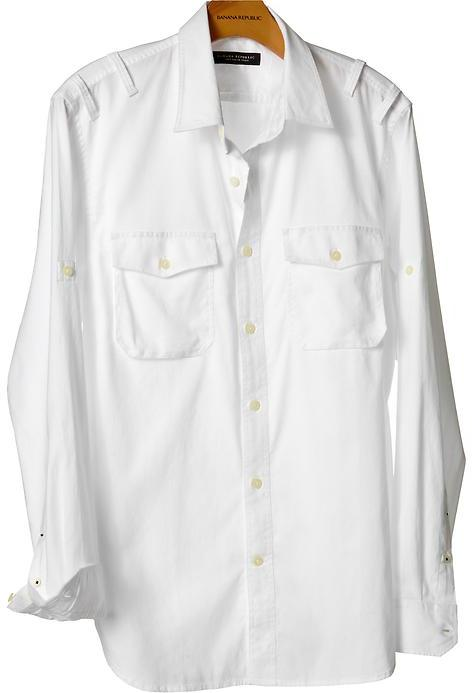 Soft-Wash slim fit white utility shirt