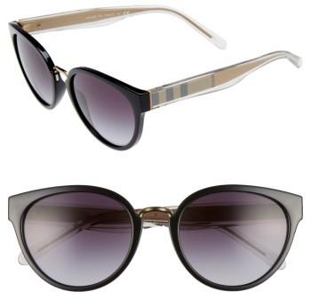 Women's Burberry 53Mm Gradient Cat Eye Sunglasses - Black/ Gradient