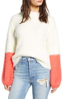 Prima Colorblock Sleeve Eyelash Sweater