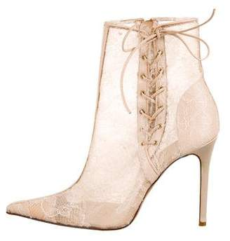 Rene Caovilla Lace Pointed-Toe Booties