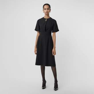 Burberry Short-sleeve D-ring Detail Silk Wool Dress , Size: 12, Black
