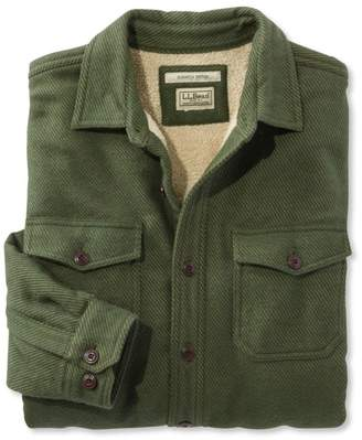 L.L. Bean L.L.Bean Sherpa-Lined Chamois Shirt, Slightly Fitted