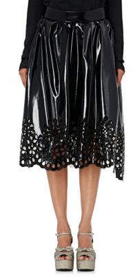 Marc Jacobs Women's Vinyl Eyelet Midi-Skirt-BLACK $1,800 thestylecure.com