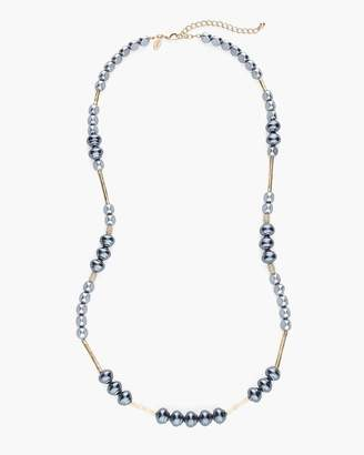 Long Gray Stone Single-Strand Necklace