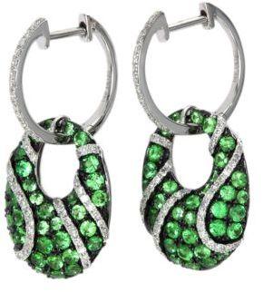 EFFY Citrus Tsavorite and Diamond Earrings in 14 Kt White Gold