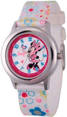 DISNEY MINNIE MOUSE Disney Minnie Mouse Girls White Strap Watch-Wds000163