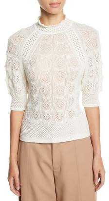 See by Chloe Lace Knit High-Neck Short-Sleeve Sweater