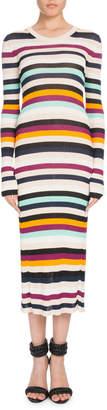 Altuzarra Crewneck Long-Sleeve Striped Ribbed Sweaterdress