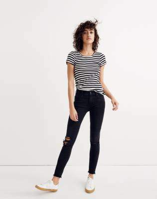 "Madewell Petite 9"" High-Rise Skinny Jeans in Black Sea"