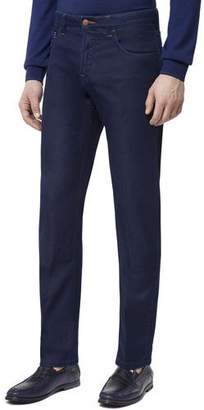 Stefano Ricci Men's Leather Patch Straight-Leg Jeans