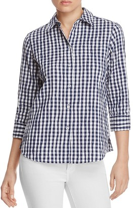 Foxcroft Sue Crinkled Gingham Button-Down Shirt $79 thestylecure.com