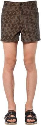 Fendi Allover Logo Printed Cotton Blend Shorts