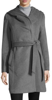 Cole Haan Wool Hooded Midi Coat