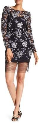 Diane von Furstenberg Long Sleeve Fitted Lace Mini Dress