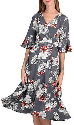 Molly Bracken Floral Faux Wrap Fit--Flare Dress
