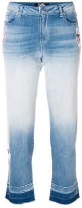 Karl Lagerfeld patch-appliqué ombré cropped jeans