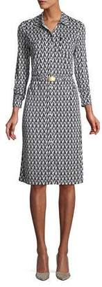Tory Burch Crista T-Print Slinky Jersey Shirtwaist Dress