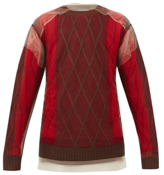 Y/Project Tulle Overlay Argyle Wool Sweater - Mens - Red