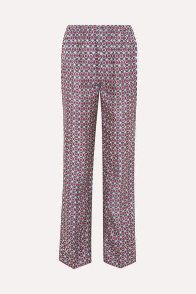 Prada - Printed Silk-satin Twill Straight-leg Pants - Blue