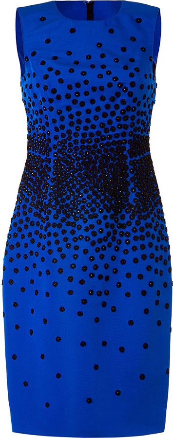 Jason Wu Royal Blue Floral-Embroidered Silk Dress