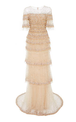 Pamella Roland Ruffle Confetti Embroidered Tulle Gown