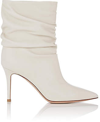 Gianvito Rossi Women's Cecile Leather Slouchy Ankle Boots - Offwhite