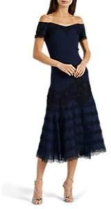 Jonathan Simkhai WOMEN'S CROCHET- & CHIFFON-INSET CREPE OFF-THE-SHOULDER DRESS