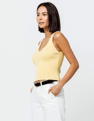 Full Tilt Essentials Light Yellow Womens Sweater Tank