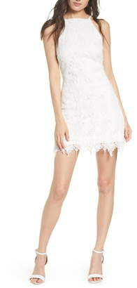 A.N.A Elizabeth Crosby Halter Neck Lace Minidress