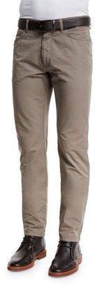 Ermenegildo Zegna Five-Pocket Cotton-Linen Pants, Tan $375 thestylecure.com