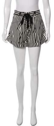 Self-Portrait Striped Lace-Up Shorts