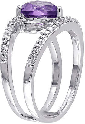 FINE JEWELRY Heart-Shaped Genuine Amethyst and Diamond-Accent Split Band Ring
