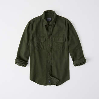 Abercrombie & Fitch A&F Men's Solid Flannel Shirt in Dark Green - Size S