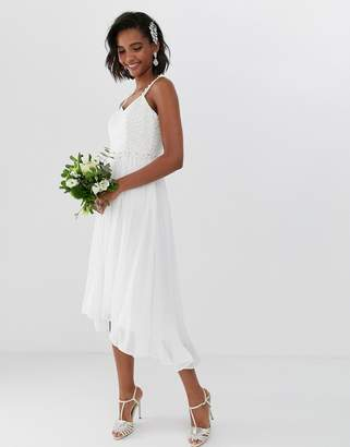 Ted Baker bridal pleated midi dress with embellished belt