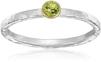 """Gurhan Skittle"""" Sterling Silver, High-Karat Gold, and Peridot Ring, Size 6.5"""