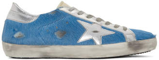 Golden Goose Blue and Silver Calf Hair Superstar Sneakers