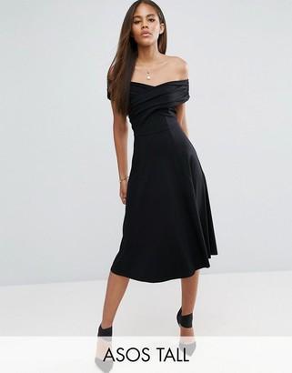 ASOS Tall ASOS TALL Midi Skater Dress with Bardot Neckline $38 thestylecure.com