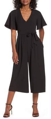 Eliza J Flounce Sleeve Wide Leg Jumpsuit