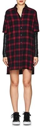 ADAPTATION Women's Leather-Sleeve Plaid Cotton Shirtdress