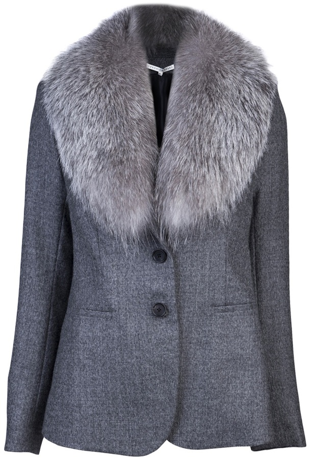 Veronica Beard Birdseye fur collar jacket
