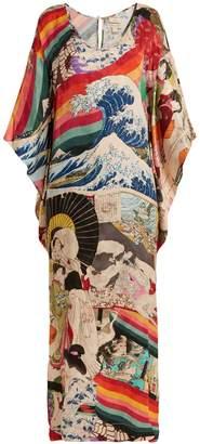 CHUFY Trippin printed kimono-sleeved dress
