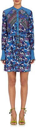 Saloni Women's Leigh-B Floral Silk Shirtdress $425 thestylecure.com