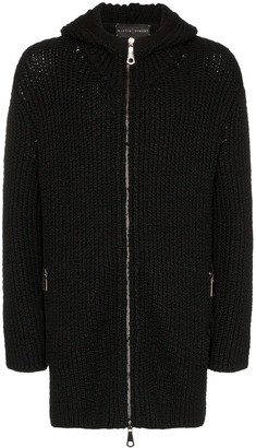 Martin Diment long line zip-front knit hoodie