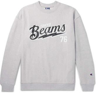 Beams + Champion Printed Loopback Cotton-Blend Jersey Sweatshirt